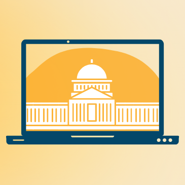 Graphic image of a blue laptop with its screen showing a white capitol building on a yellow background